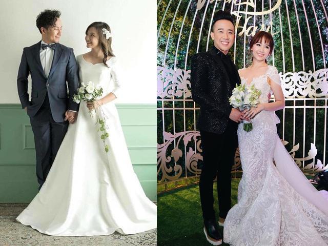 Váy cưới của vợ Tiến Đạt đơn giản bao nhiêu, váy của Hari Won lộng lẫy bấy nhiêu!