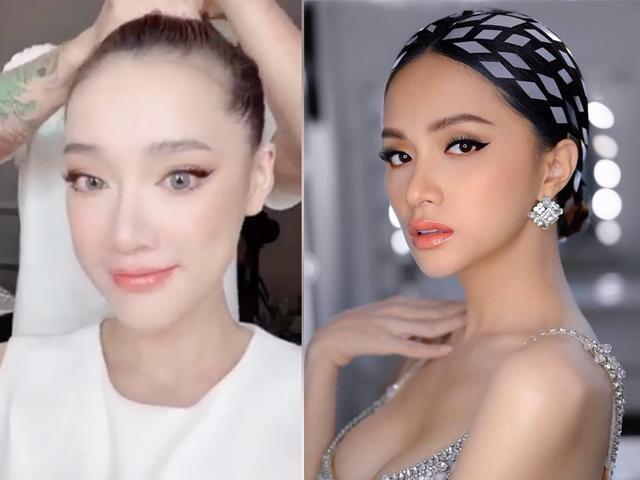 Lần đầu hoá mắt xanh, Nhã Phương bỗng chốc trở thành chị em sinh đôi với Hương Giang