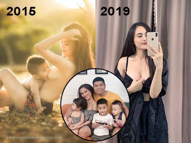Mẹ Nha Trang ngực trần cho bú đình đám 2015, giờ đẻ 3 con, tiết lộ ngực xấu đi nhiều