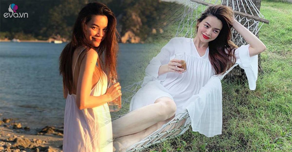 Hồ Ngọc Hà diện váy trắng tinh khôi, nhưng nhìn sơ qua ai cũng nhầm là đầm bầu