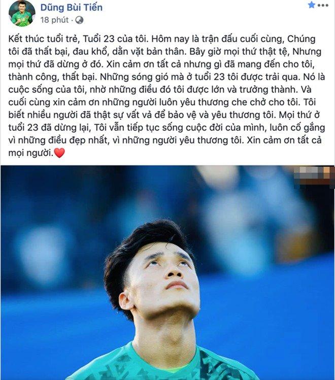 Thủ môn Bùi Tiến Dũng viết tâm thư sau trận thua, Midu, Quyền Linh và dàn sao Việt an ủi