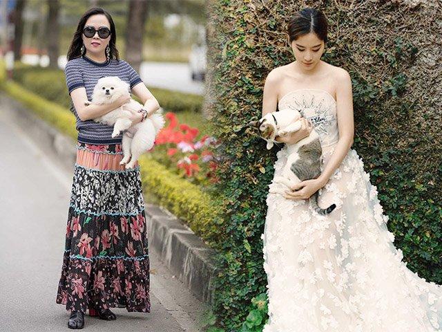 Cùng dắt thú cưng đi dạo, Nam Em ăn mặc như công chúa, nhìn sang Phượng Chanel liền thở dài