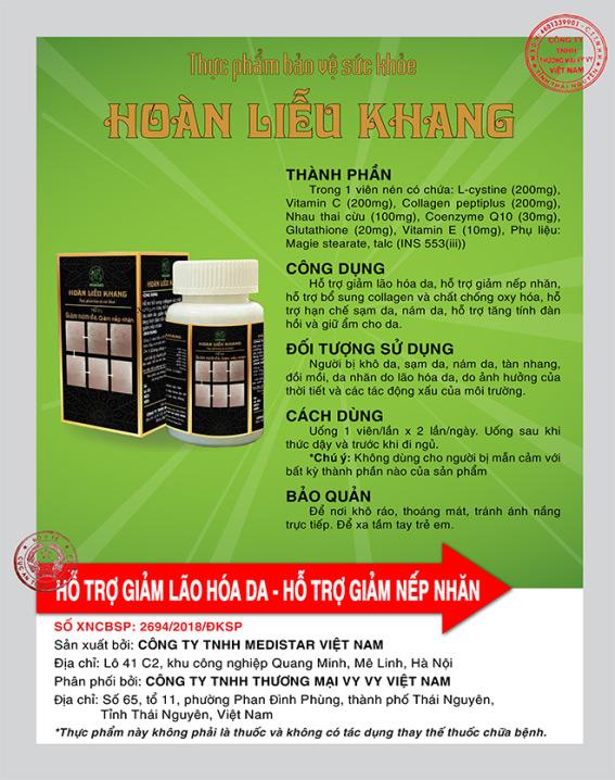 TPBVSK Hoàn Liễu Khang - hỗ trợ giảm lão hoá, giảm nám với nhau thai cừu Úc và colagen tươi - 3