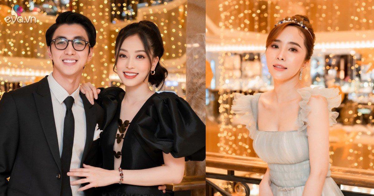 Bình An - Phương Nga tình tứ dự event, Quỳnh Nga đeo vương miện gần 100 triệu