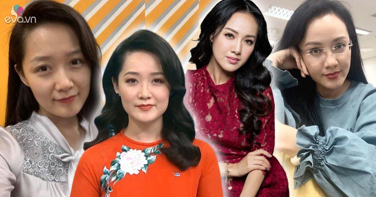 Chiêm ngưỡng dung nhan củaBTV Thời sự 19H: Hoài Anh-Thu Hà trẻ đáng nể, càng mộc mạc càng đẹp