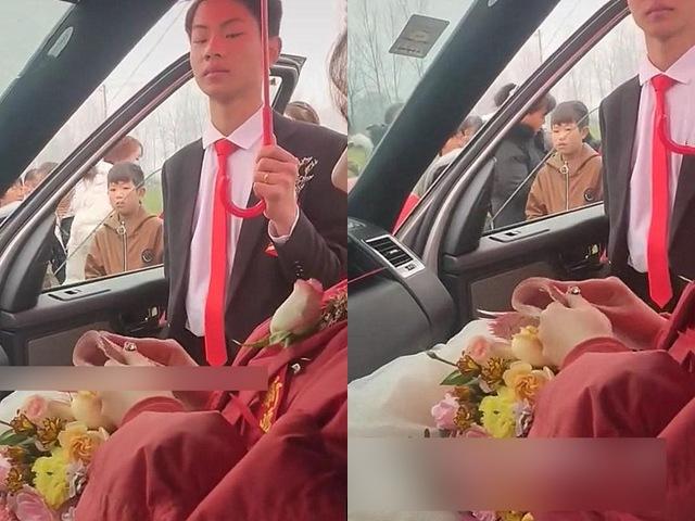 Cô dâu ngồi lì trong xe hoa đếm tiền, thái độ của chú rể gây