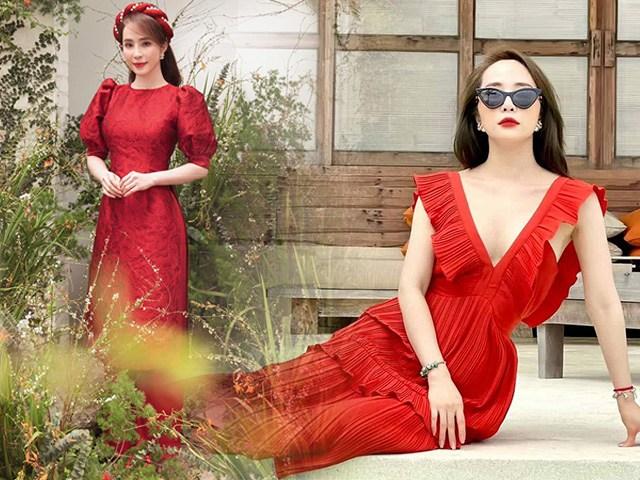 Quỳnh Nga suốt mùa Tết chăm diện đồ đỏ rực, có chiếc váy trễ sâu bất tận gây thót tim