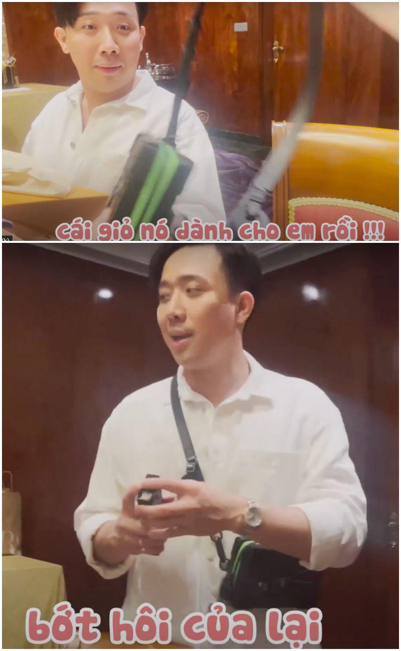 """Thường mặc đồ đôi: quà sinh nhật Trấn Thành cầm chưa """"nóng"""" tay đã bị Hari Won giành - 1"""