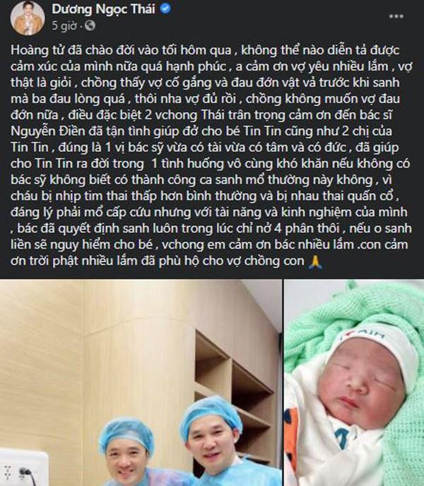 Bà xã hạ sinh con trai nhiều khó khăn, ca sĩ Dương Ngọc Thái đau lòng không cho đẻ thêm - 1