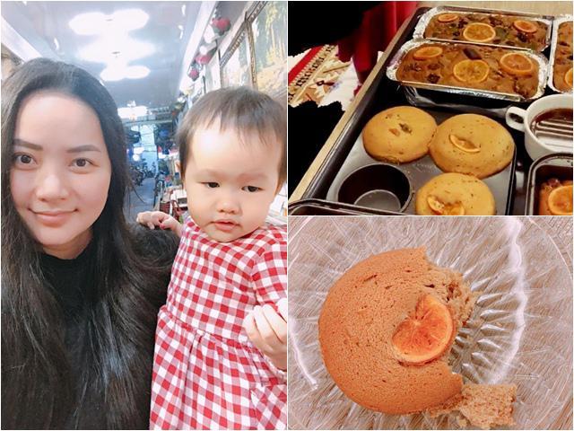 Chồng đại gia cưng chiều nấu ăn cho, Phan Như Thảo cũng khéo léo làm bánh cho con thế này