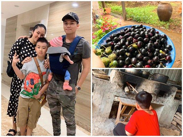 Nghỉ dịch dài ngày, Lê Phương dẫn cả gia đình về Tây Ninh trồng cây, hái quả