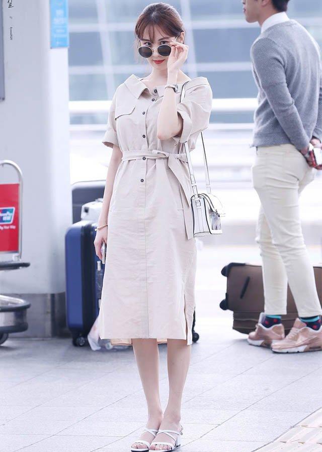 xinh dẹp có tiếng nhưng triệu vy mãi thua chị kém em vì thời trang sân bay xuề xoà - 12