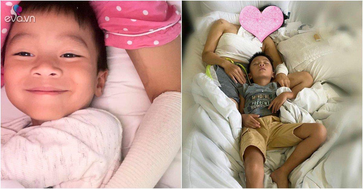 Tay còn băng bó, Hồng Ngọc gắng gượng ôm con ngủ, biểu cảm của bé nhìn mà xót lòng