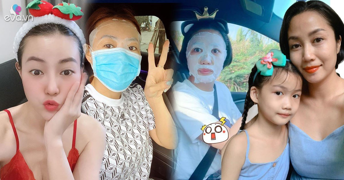 Bận rộn chăm con, mẹ bỉm Ốc Thanh Vân, Lan Cave đắp mặt nạ dưỡng da cả khi lái xe