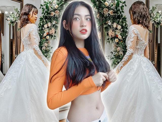 Hotgirl trứng rán diện váy cưới hóa cô dâu dịu dàng, ngờ đâu CĐM chỉ soi tóc bết, mặt đen