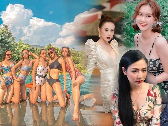 Du lịch chung, dàn mỹ nhân làng Yên - Cô gái nhà người ta thi nhau đọ dáng gợi cảm