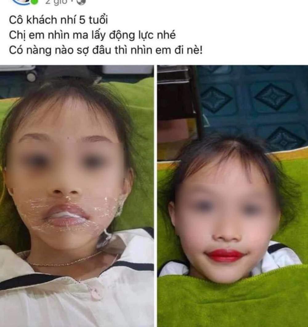 Chủ tiệm thẩm mỹ lấy con gái 5 tuổi ra phun môi làm mẫu quảng cáo nhận amp;#34;rổ gạch đáamp;#34; - 1