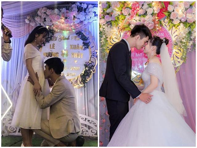 """MC hỏi """"Chú rể muốn hôn vào đâu?"""", chú rể hôn bụng cô dâu khiến quan khách bất ngờ"""