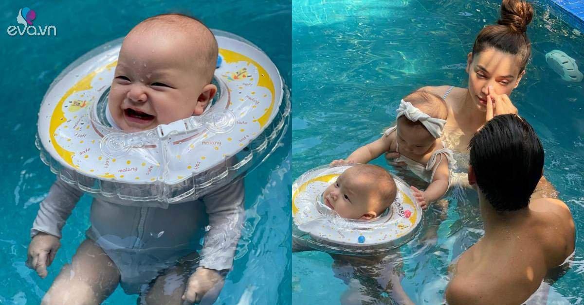 Leon đã bơi được một mình, khoảnh khắc Kim Lý chạm vào Hồ Ngọc Hà dưới bể bơi gây sốt