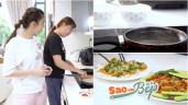 Ngọc Trinh nhờ giúp việc nấu 2 món ngon trong nhà triệu đô, chiếc chảo cũ mèm gây chú ý