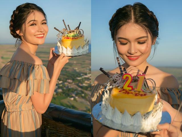 Á hậu Thùy Dung hạnh phúc đón sinh nhật trên khinh khí cầu