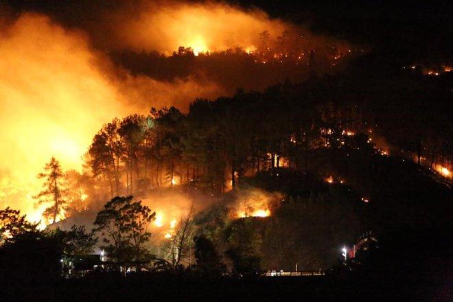Rừng Hà Tĩnh lại cháy dữ dội, hàng trăm người lên núi Nầm dập lửa giữa đêm