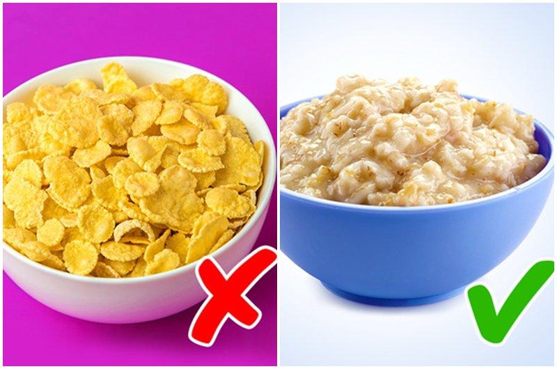 Hơn nữa, lượng đường được thêm vào ngũ cốc để làm cho chúng ngon và hấp dẫn hơn với trẻ em có thể dẫn đếnbệnh tiểu đường,bệnh timvàbéo phì.Thay vì ngũ cốc, hãy thay thế bột yến mạch hoặc ngũ cốc nguyên hạt.