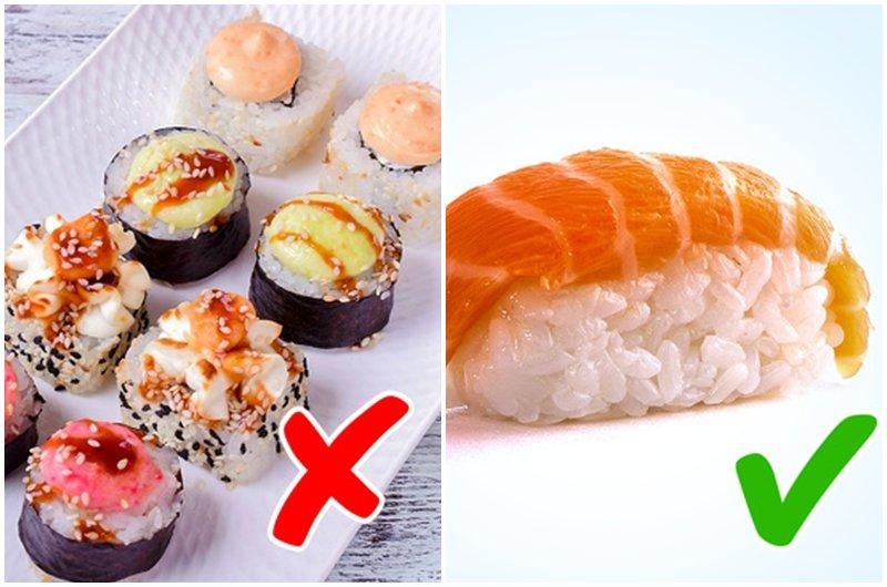 Để tránh các vấn đề về cân nặng, hãychọn cácmón sushi đơn giản với cá hồi hoặc sashimi.