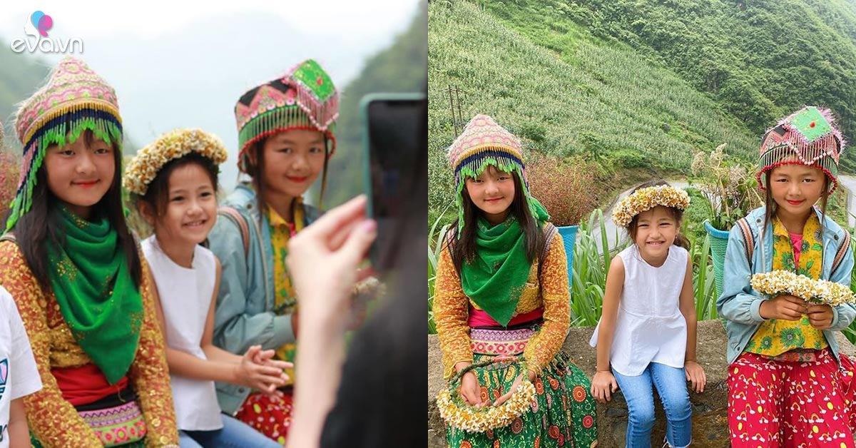 Chụp ảnh cùng 2 hotgirl dân tộc nhí, con gái Hà Kiều Anh nổi bần bật nhưng mẹ lại chê