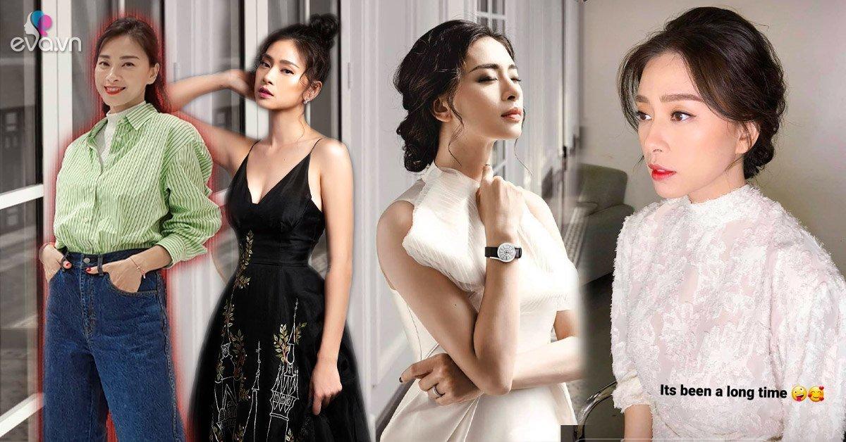 Ngày thường toàn diện quần jeans áo thun, Ngô Thanh Vân lâu rồi mới ngọt ngào với váy nữ tính