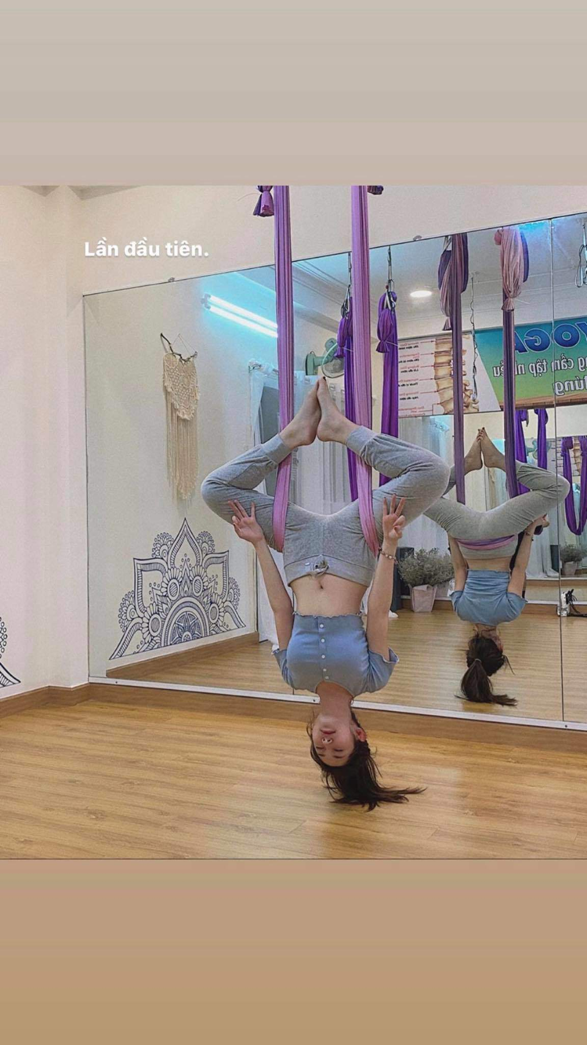 Khổng Tú Quỳnh nhập hội mê yoga bay, bảo sao dáng nuột nà, vòng 3 quả táo đẹp mê - 8