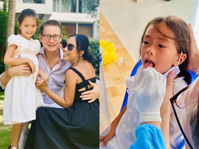 Hoãn lễ kỉ niệm 8 năm cưới, vợ chồng Đoan Trang dẫn con gái đi xét nghiệm, tự cách ly