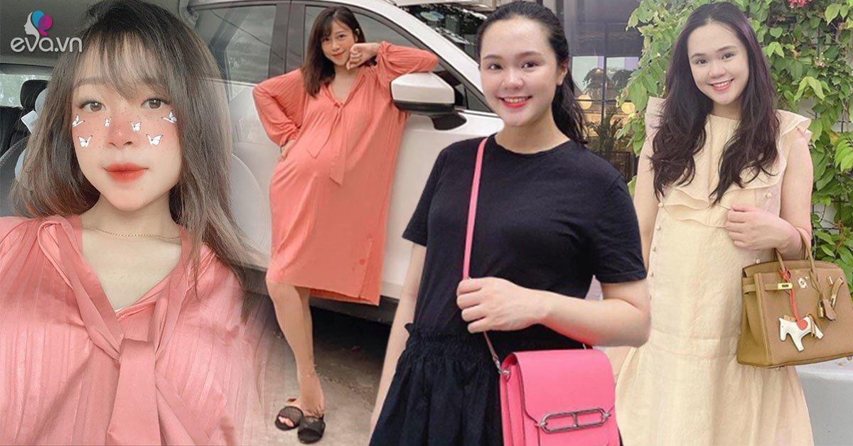 Cùng mang bầu sắp sinh: vợ Phan Văn Đức giữ dáng mình dây, công chúa béo tăng cân vẫn xinh