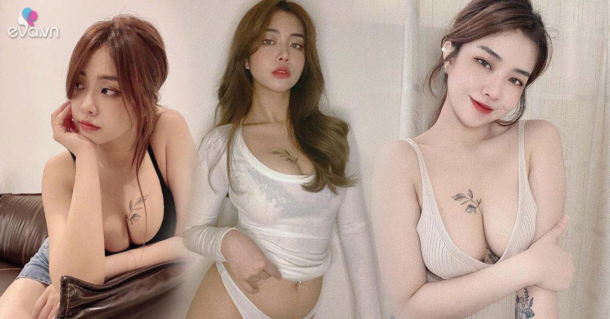Xăm hình ngay vòng 1, hot girl khẳng định không thích mặc áo ngực