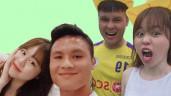 Đứng cạnh bên Quang Hải, Huỳnh Anh nổi bần bật với làn da trắng gấp đôi bạn trai