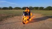 """Youtuber """"chơi trội"""" mang mô tô ra đốt bắt chước phim """"Ma tốc độ"""" và cái kết"""
