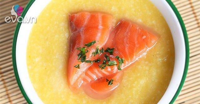 Mách mẹ cách nấu cháo cá hồi khoai lang cho bé tuyệt đơn giản