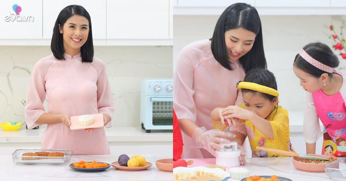 HH Ngọc Hân tự tay làm bánh Trung Thu tặng người thân, được bà ngoại và mẹ ruột khen