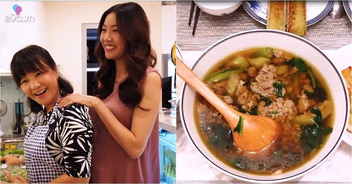 Mẹ chồng nấu ăn cho bà bầu Thuý Vân, truyền luôn bí kíp ăn gì để bé cao, da trắng