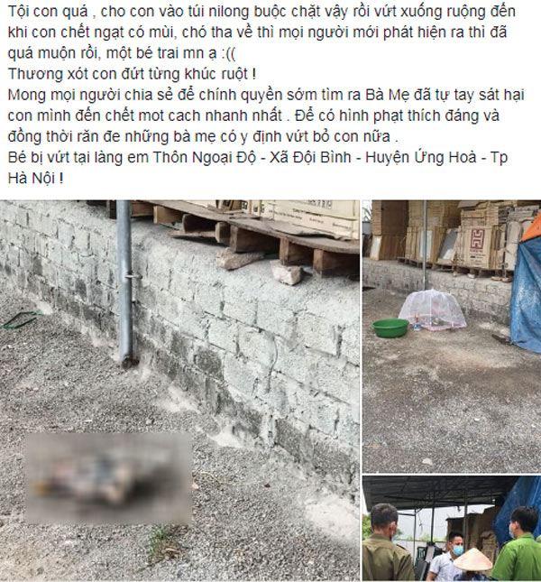 Hà Nội: Bé sơ sinh bị bỏ trong túi bóng, khi phát hiện thi thể không còn nguyên vẹn - 1