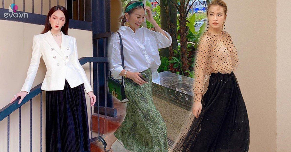 Học cách phối đồ với chân váy lửng từ sao Việt, nàng có ngay vẻ ngoài thanh lịch ngày thu