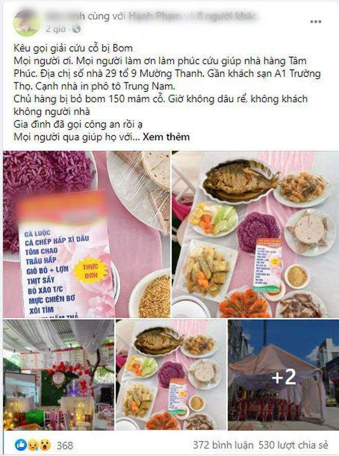 Nhà hàng dựng sẵn rạp cưới vẫn bị khách bùng 150 mâm cỗ, nhờ người dân giải cứu giá 500.000VNĐ/mâm - 1