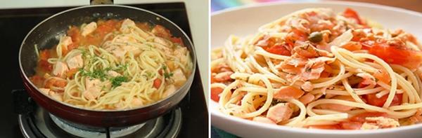 How to make spaghetti with salmon cream sauce