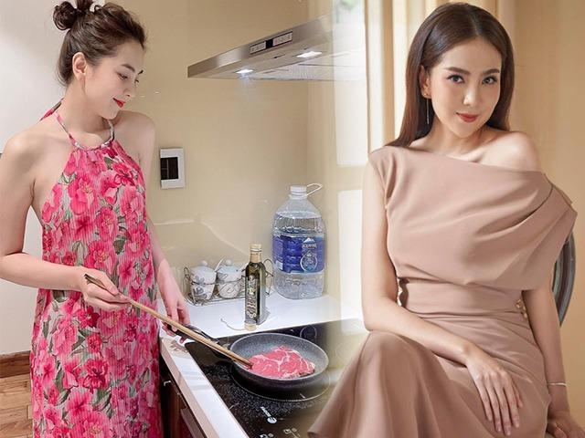Mai Ngọc làm vợ đảm vào bếp mát mẻ: Lên đồ chuẩn tiết kiệm mùa dịch