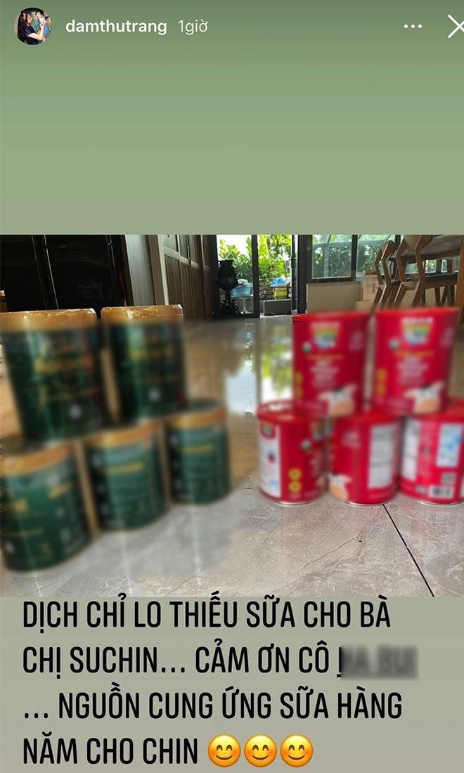 Đàm Thu Trang chuẩn mẹ bỉm sữa đại gia, trữ sữa thành núi cho con trong mùa dịch