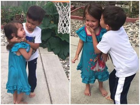 Em gái bị bóng rổ đập vào đầu và hành động ngọt ngào không thể ngờ của anh trai