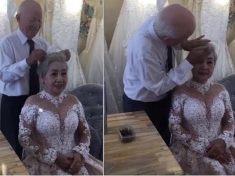Khoảnh khắc cụ ông giúp cụ bà trang điểm, chụp ảnh kỷ niệm 50 năm ngày cưới gây xúc động