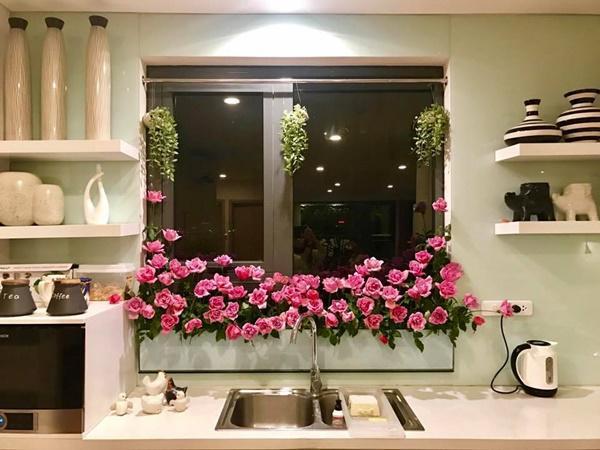 amp;#34;Vườn hoaamp;#34; độc đáo trên cửa sổ nhà bếp của bà mẹ khéo tay Hà Thành - 1