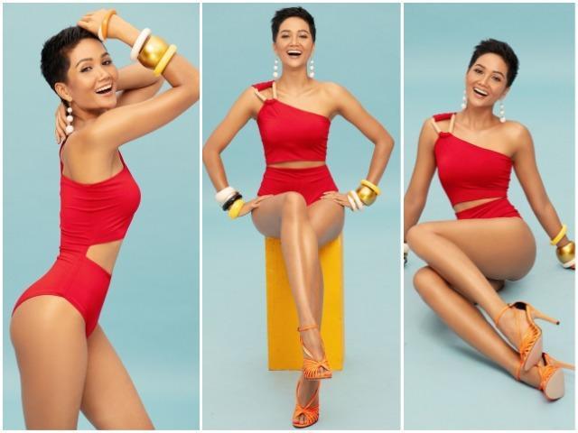Dàn đối thủ tại Miss Universe chỉ biết khóc thét khi HHen Niê diện bikini đỏ cam đẹp miễn chê