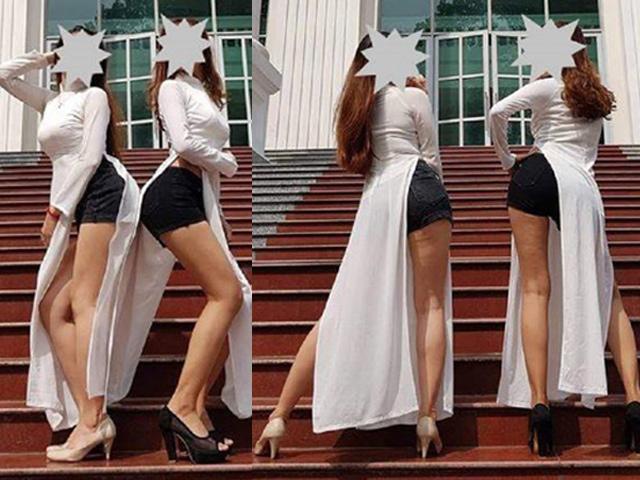 Mặc áo dài với quần siêu ngắn và tạo dáng phản cảm, hai sinh viên bị chửi không thương tiếc